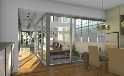 Maison & Jardin magazine Psitive Home patio intérieur d'une maison à ossature bois