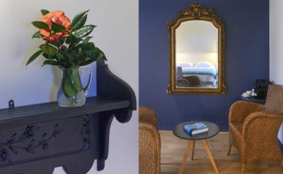 Maison et Jardin Magazine jolie chambre bleue et blanche