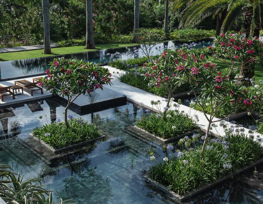 Les bassins du jardin CGD à Sao Paulo
