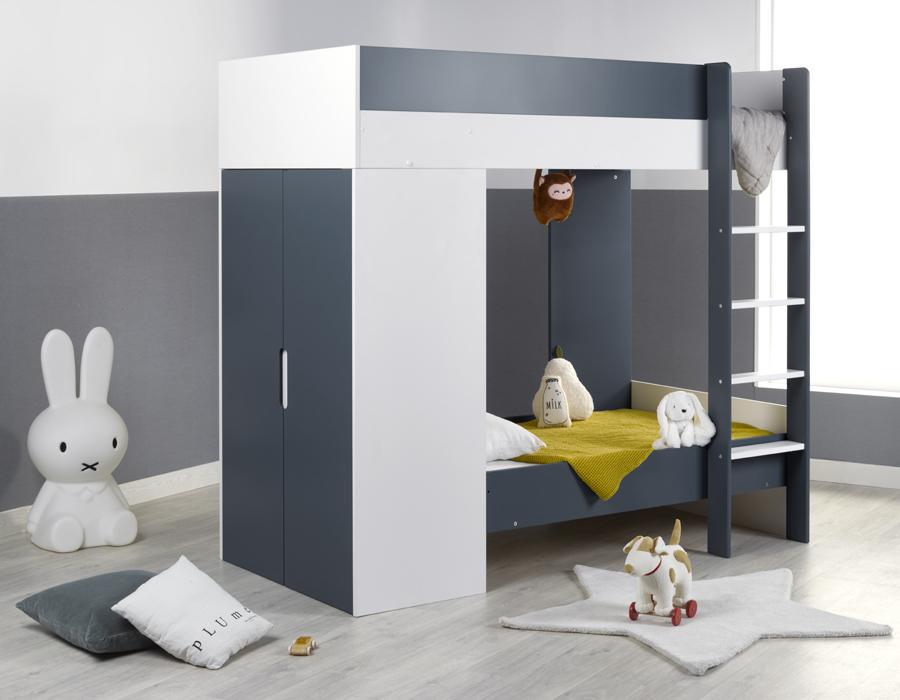 Lit superposé pour enfant avec armoire intégrée blanc et bleu
