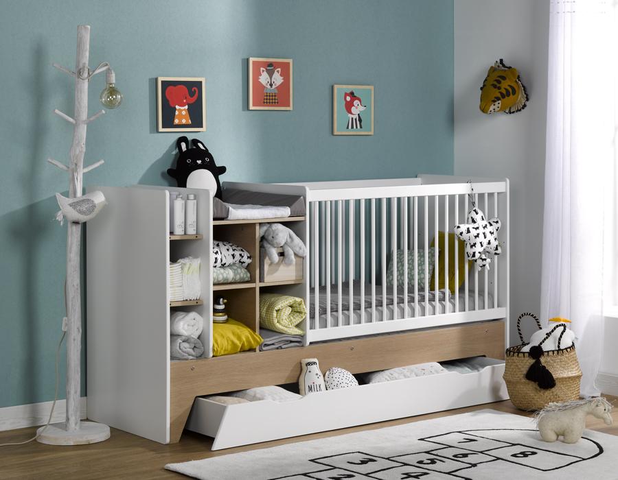 Lit évolutif pour bébé avec rangements intégrés