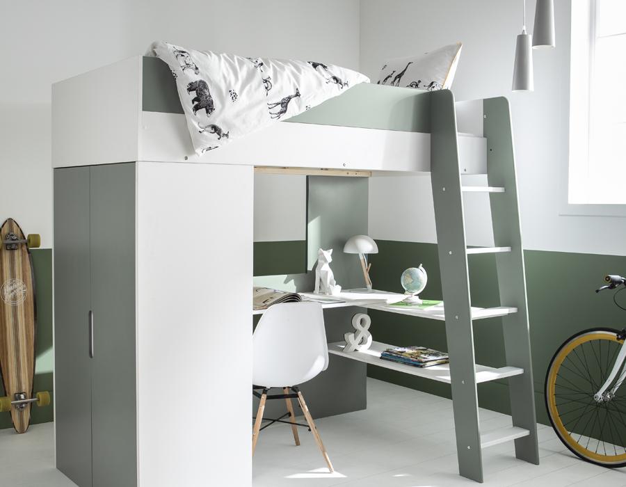 Lit mezzanine avec bureau et armoire intégrés