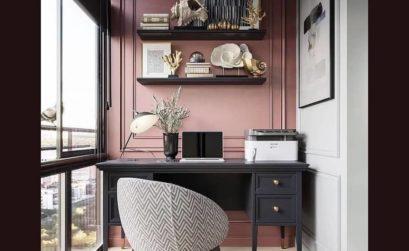 un coin bureau rose et noir