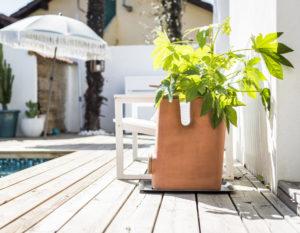 Le pot de fleurs composteur Transfarmers a aussi sa place au solei