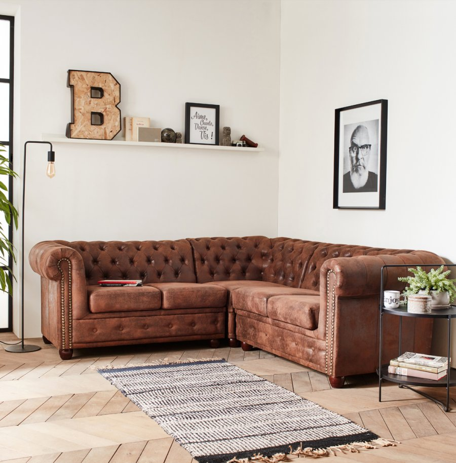 Canapé d'angle modèle Winston Chesterfield Lisa Design