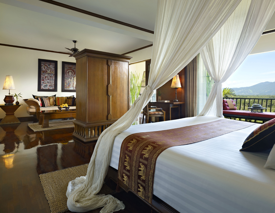 Une des chambres de l'hôtel Anantara Golden Triangle Elephant Camp & Resort