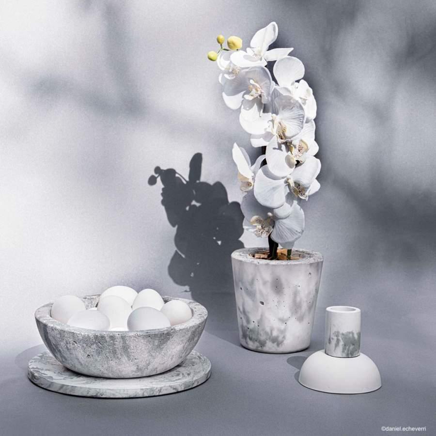 Ensemble d'objets décoratifs en béton effet marbre