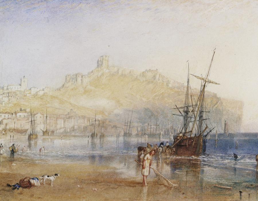 J. M. W. Turner (1775 – 1851), Scarborough, vers 1825, aquarelle et graphite sur papier, 15,7 x 22,5 cm Tate, accepté par la nation dans le cadre du legs Turner 1856, Photo © Tate