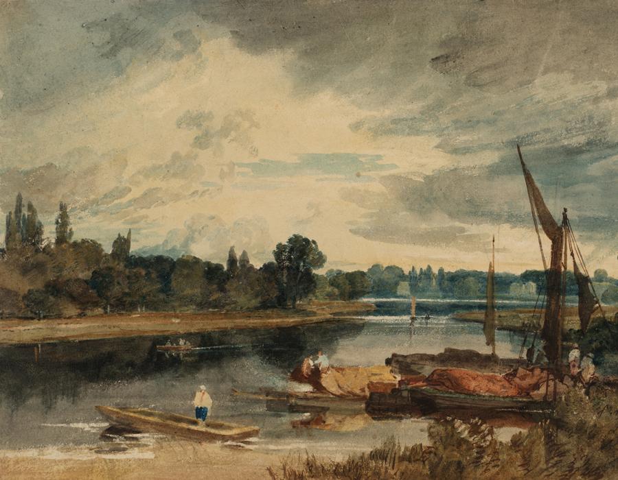 J. M. W. Turner (1775 – 1851), La Tamise près d'Isleworth : barque et péniches au premier plan, 1805, graphite et aquarelle sur papier, 25,8 x 36,5 cm Tate, accepté par la nation dans le cadre du legs Turner 1856, Photo © Tate
