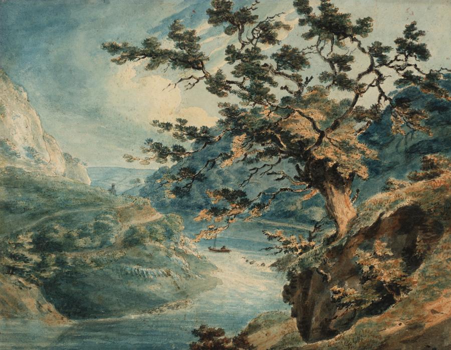 J. M. W. Turner (1775 – 1851), Vue des gorges de l'Avon, 1791, crayon, encre et aquarelle sur papier, 23,1 x 29,4 cm Tate, accepté par la nation dans le cadre du legs Turner 1856, Photo © Tate