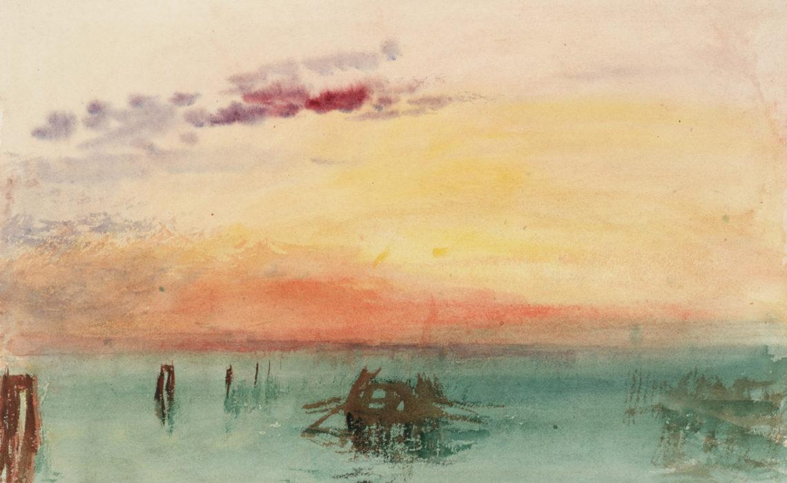 J. M. W. Turner (1775 – 1851), Venise : vue sur la lagune au coucher du soleil, 1840, aquarelle sur papier, 24,4 x 30,4 cm Tate, accepté par la nation dans le cadre du legs Turner 1856, Photo © Tate