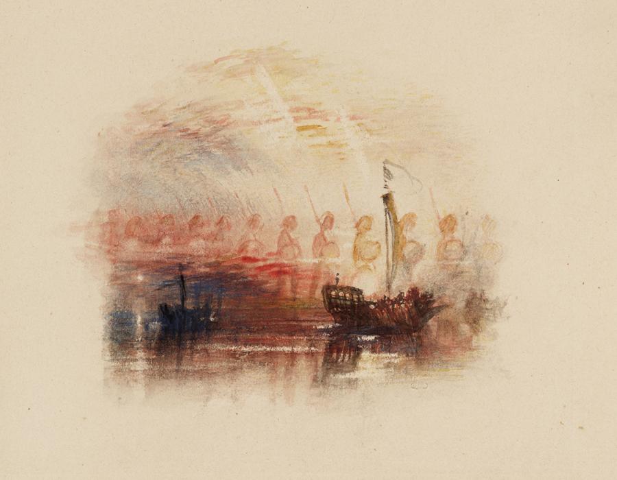 J. M. W. Turner (1775 – 1851), La Vision de Colomb, pour les Poèmes de Samuel Rogers, vers 1830–1832, graphite et aquarelle sur papier, 23,2 x 31 cm, Tate, accepté par la nation dans le cadre du legs Turner 1856, Photo © Tate