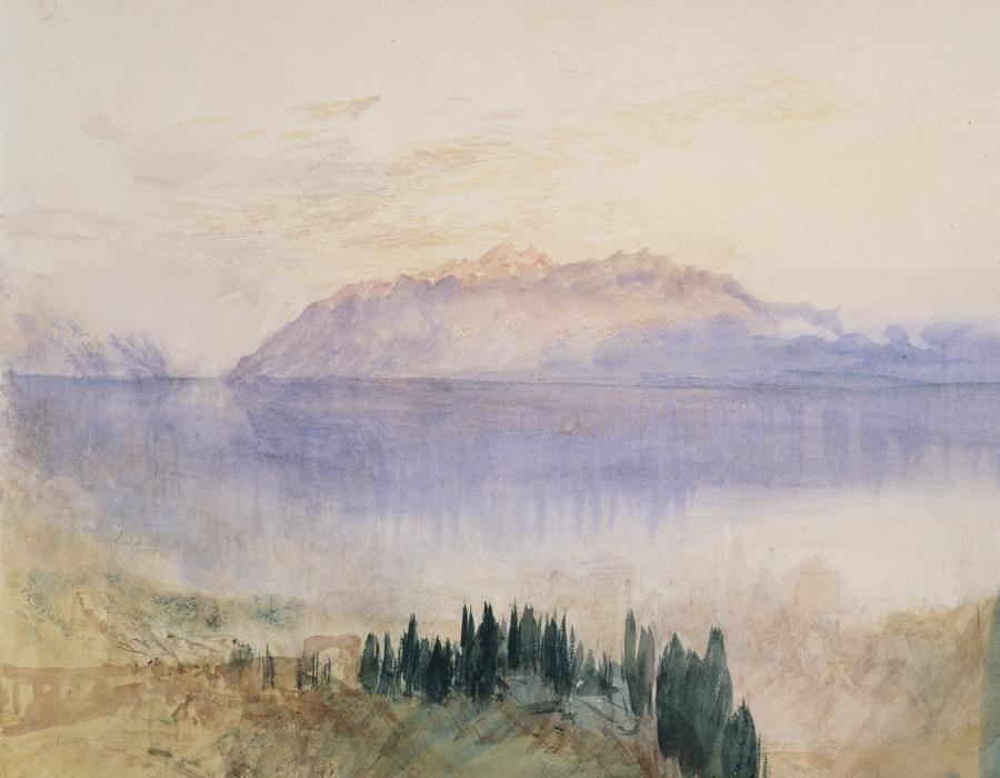 J. M. W. Turner (1775 – 1851), Le Lac Léman, avec la Dent d'Oche, au-dessus de Lausanne,1841, graphite et aquarelle sur papier, 23,5 x 33,8 cm Tate, accepté par la nation dans le cadre du legs Turner 1856, Photo © Tate