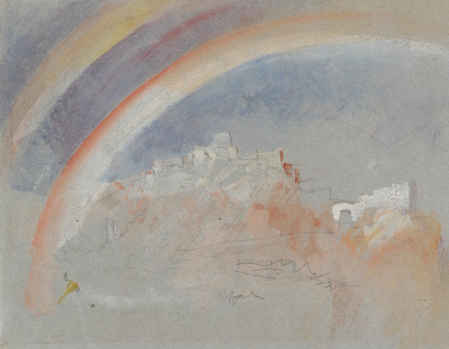 J. M. W. Turner (1775 – 1851), Ehrenbreitstein avec un arc-en-ciel, 1840, graphite, aquarelle et gouache sur papier, 14,1 x 19,3 cm Tate, accepté par la nation dans le cadre du legs Turner 1856, Photo © Tate