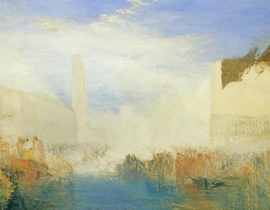 J. M. W. Turner (1775 – 1851), Venise, la Piazzetta avec une cérémonie du Doge épousant la mer, vers 1835, huile sur toile, 91,4 x 121,9 cm Tate, accepté par la nation dans le cadre du legs Turner 1856, Photo © Tate
