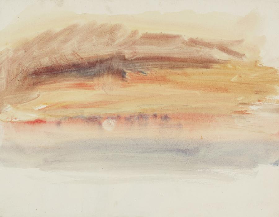 J. M. W. Turner (1775 – 1851), Coucher de soleil, vers 1845 aquarelle sur papier, 24 x 31,5 cm Tate, accepté par la nation dans le cadre du legs Turner 1856, Photo © Tate
