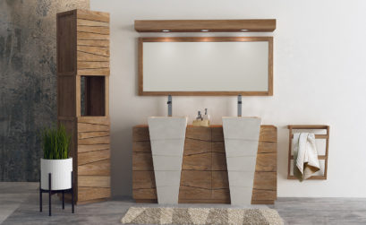Meuble de salle de bain en teck avec double vasque blanche sur pied