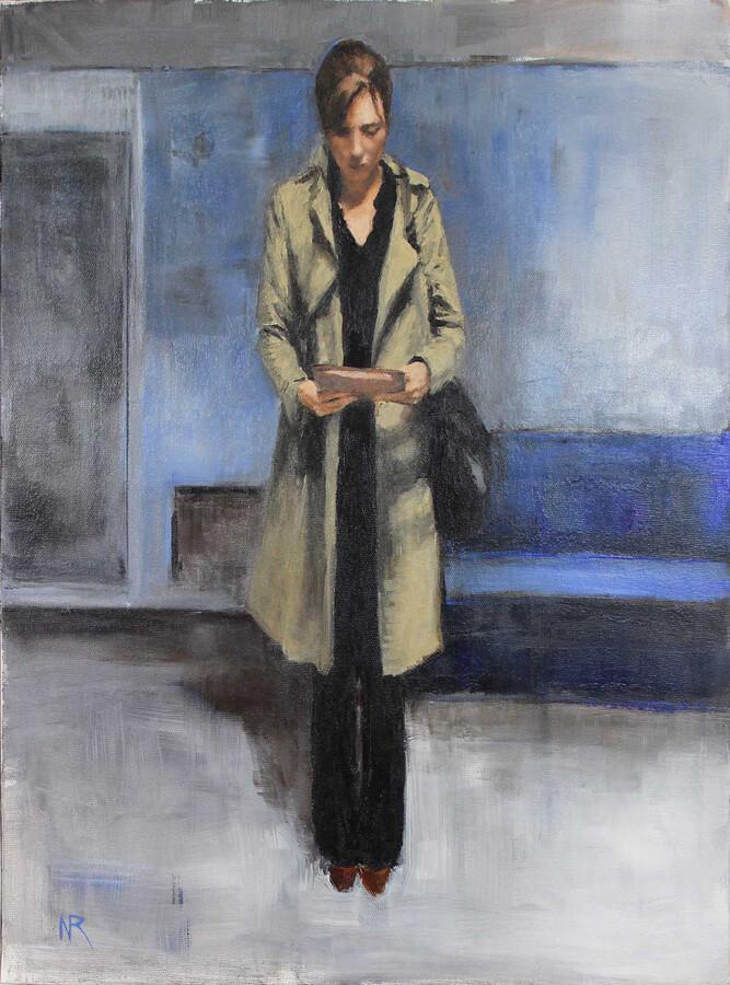 art en ligne tableau representant une femme lisant un livre