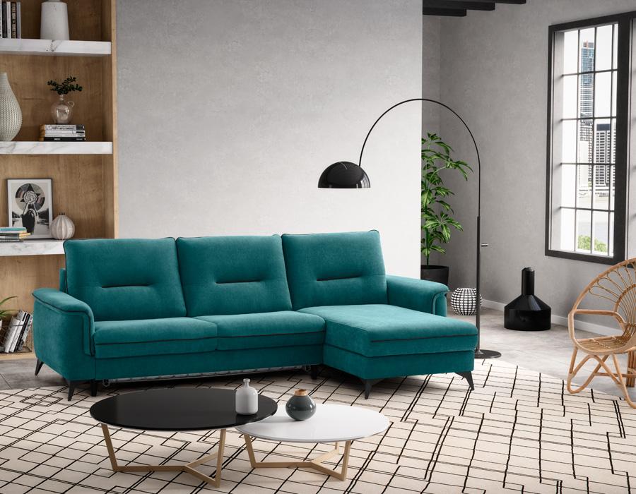 canapé d'angle vert-d'eau
